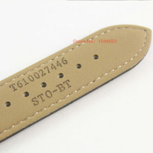 Image 5 - 23mm (אבזם 20mm) t035617A T035439 באיכות גבוהה כסף פרפר אבזם + חום שחור אמיתי עור מעוקל סוף רצועת השעון