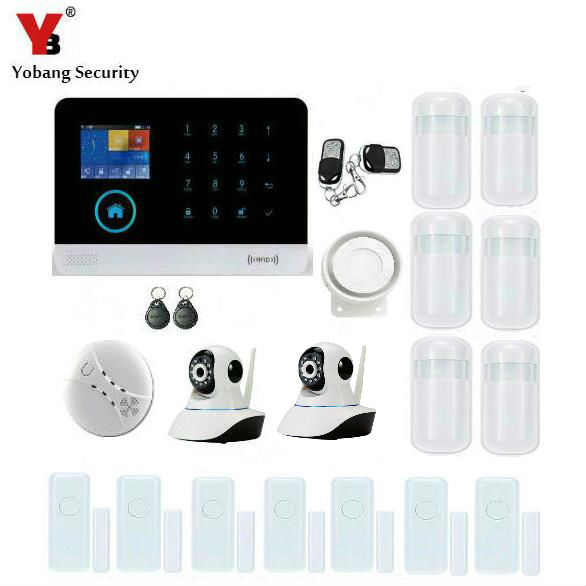 YobangSecurity IOS Android APP GSM WIFI GPRS RFID Touch Pad Home Alarm Security System Video IP Camera Smoke Fire Detector yobangsecurity wifi gsm gprs home security alarm system android ios app control door window pir sensor wireless smoke detector