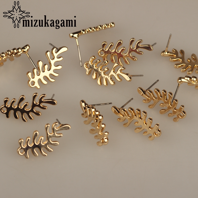 2018 New 10*22MM 6pcs/lot Zinc Alloy Gold Coral Branch Shape Base Earrings Connector  For DIY Fashion Stud Earrings Accessories