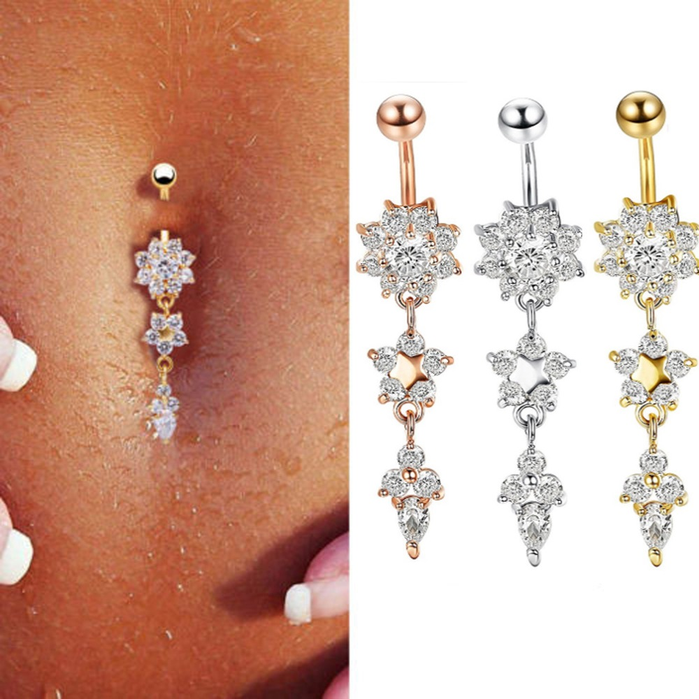 Us 1 17 9 Off Sexy Dangle Belly Bars Belly Button Rose Gold Rings Belly Piercing Cz Crystal Flower Body Jewelry Navel Piercing Rings Drop In Body