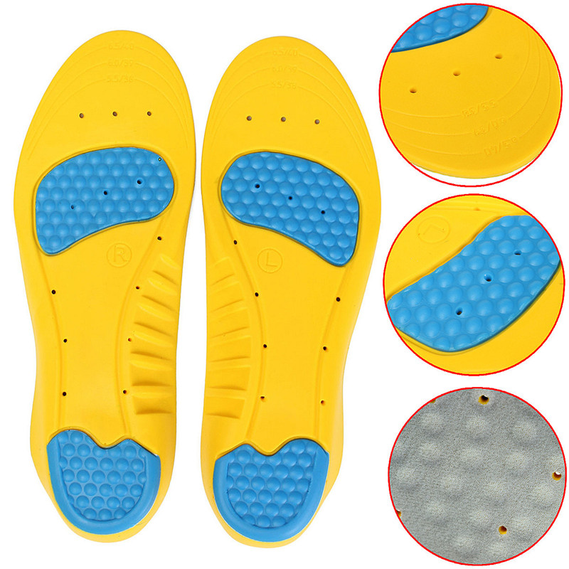 High Quality Breathable And Sweat Absorbing Anti-odor Sports PU Insoles Gel Cushioning Running Arch Support Sport Insoles