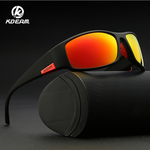 KDEAM Brand Mens Polarized Sunglasses TR90 Rectangle Coating Driving Glasses Sport Goggles Gafas De Sol KD111