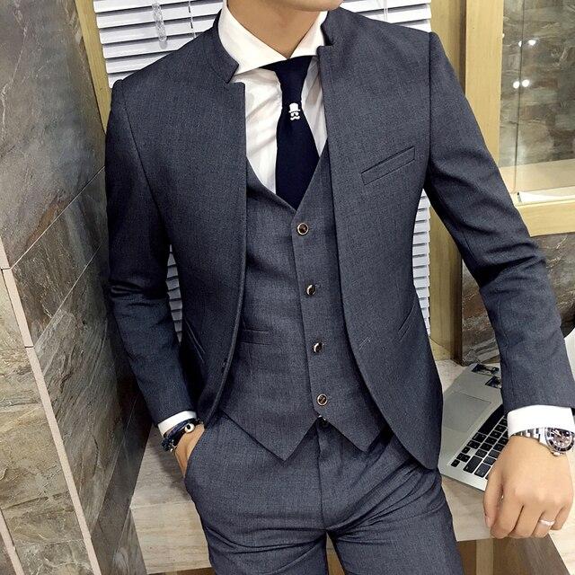 Блейзер Моды для мужчин воротник Тонкий Серый костюм Отдыха пальто жених лучший мужчина Платье Высокого Качества бизнес случайный куртка