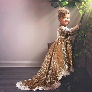 Image 2 - Brillante hi lo lentejuelas doradas de manga larga vestidos de flores para niñas y bebés traje para fiesta de noche de cumpleaños con tren largo