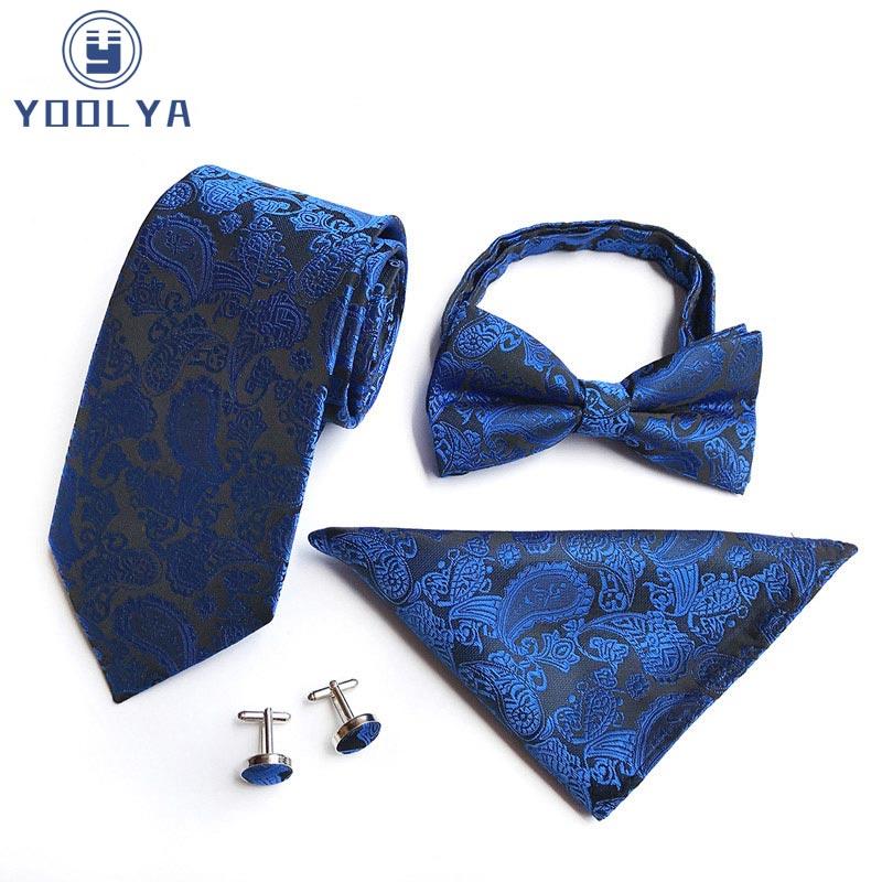 USA Gold Paisley Silk Tie Set Mens Necktie Pocket Square Cufflinks Wedding Party