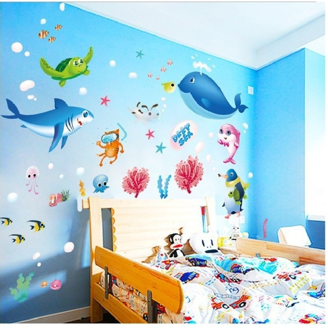 Lovely Sea Animal Wall Sticker Diy Home Decal Removable Pvc Art