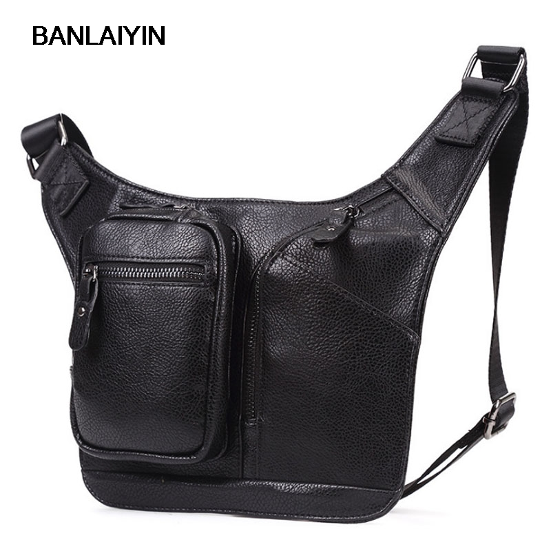 High Quality Men PU Leather Fahion Sling Chest Back Bag Travel Cross Body Messenger Shoulder Bag Single Bag Waist Fanny Pack ...