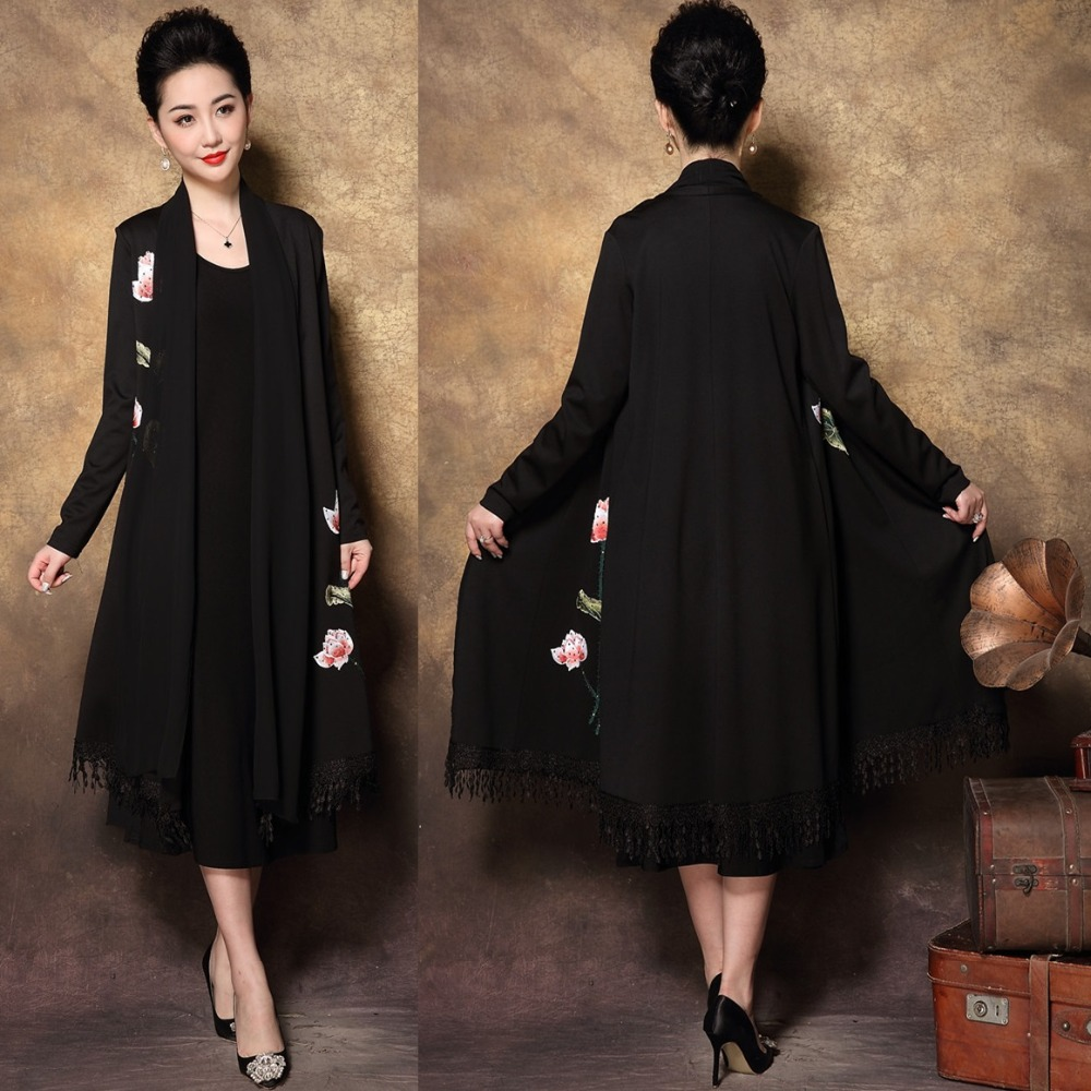 Elegant Mother long dress retro Floral Embroidery Two pc dress middle age Women tassels party dresses Plus size longos vestido4X-in Dresses from Women's Clothing    1