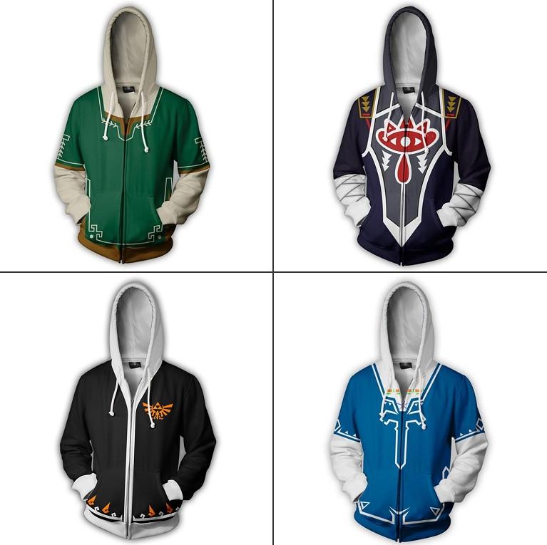 The Legend of Zelda Breath of the Wild 3D Outfit Sweatshirts Men Women Hoodie Zipper Coat Jacket Cosplay Costume Sheikah Slate