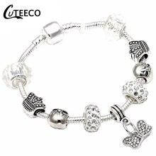 CUTEECO, европейский стиль, 925, уникальные серебряные браслеты с подвесками, сделай сам, хрустальные бусины, брендовые браслеты и браслеты для женщин, ювелирное изделие, подарок