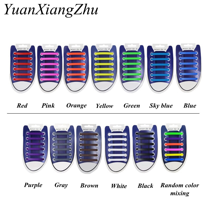 12Pcs/Set Elastic Silicone Shoelaces Athletic Running No Tie Shoelace Sneakers Fit Strap Shoes Lace For Men Women Shoelaces