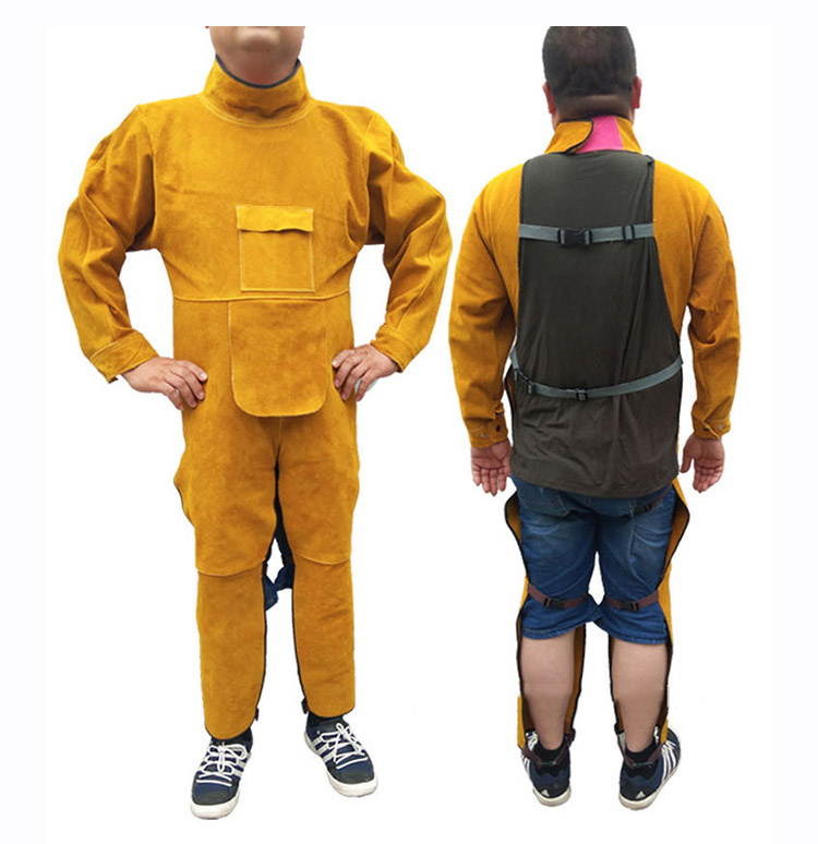 Welding Protective Clothing Cowhide Split Leather Flame Retardant Welder's Aprons Long Sleeve Leg Wrappings Work Safety Clothes (6)