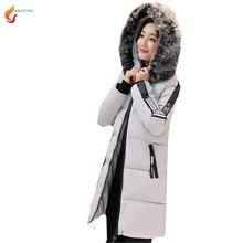 2017 Зимние Женщин С Капюшоном Меховой воротник Куртки Хлопка Средней длины Тонкий Большой размер Печатных Пальто Утолщаются Хлопка Куртка G132 JQNZHNL