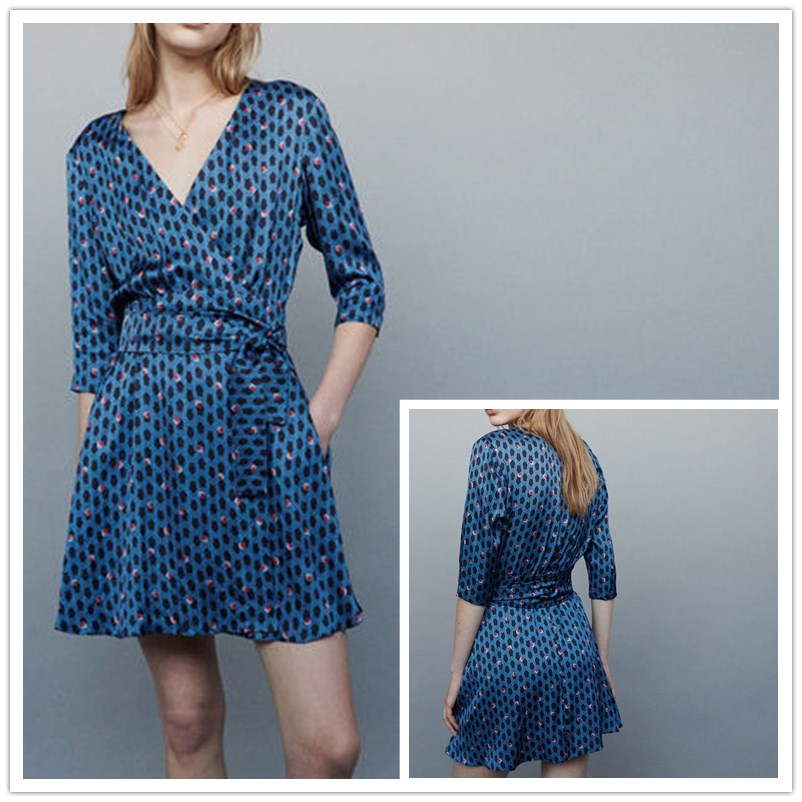 Women Dress Spring and Summer New Vintage Geometric V neck Print Dress Bow Belt Floral Print