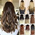 """EUA Estoque Sintético Extensões de cabelo Ombre Clipe em em 3/4 Cabeça Cheia Longo 23 """"Dip Dye Cabelo encaracolado Preto Brown Loira Auburn Pedaço"""