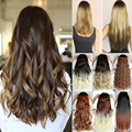"US Stock Synthetic Ombre hair Extensions Clip in on 3/4 Full Head Long 23"" Curly Black Brown Blonde Auburn Dip Dye Hair Piece"
