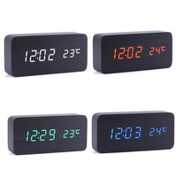 Digital LED Alarm Clock Despertador Sound Control USB AAA Temperature Display Electronic Wooden 4 Colors Desktop