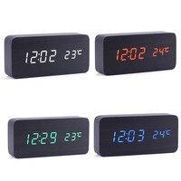 디지털 알람 시계 Despertador 사운드 제어 USB/AAA 온도 디스플레이 전자 나무 4 색 데스크탑 테이블 시계