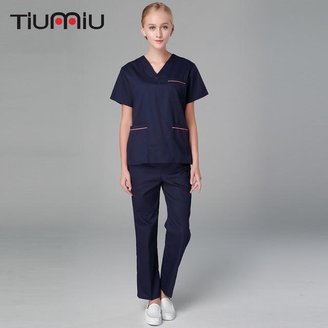 5be8b9502cd Unisex Doctor Uniform Hospital Medical Scrub Clothes Women Drugstore Sets  Navy Blue Surgical Scrubs Medical Uniform Beauty SalonEasy2Order.