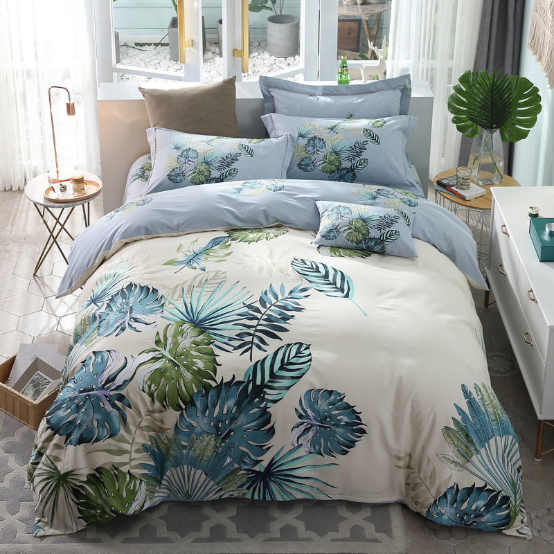 Leaves Bedding Set Queen King Size 100% Cotton Printed Duvet Cover Flat Bed Sheets with Pillow Case Bedroom Textile SetsLeaves Bedding Set Queen King Size 100% Cotton Printed Duvet Cover Flat Bed Sheets with Pillow Case Bedroom Textile Sets