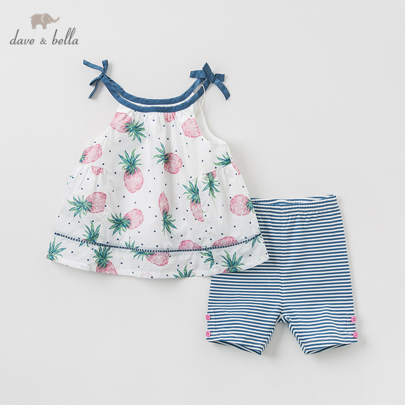 DBA9401 Dave bella summer baby girl clothing sets cute fruit print children suits infant high quality