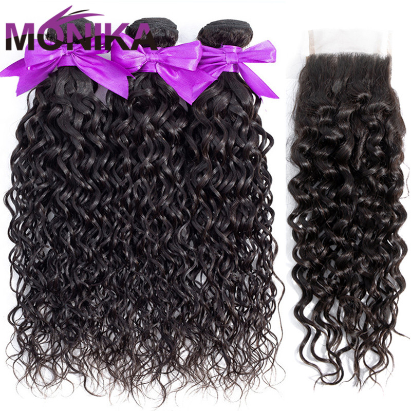 Monika Peruvian Hair Natural Water Wave Bundles With Closure Wet and Wavy Non Remy Human Hair