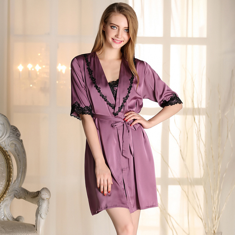 Woman Summer Sleepwear For Women Solid Bath Robe Dressing ...