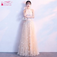 Champagne Prom Dresses Long Style A Line Flowers High Neck Sleeveless Formal Lady Evening Dress Gown Simple JQ259