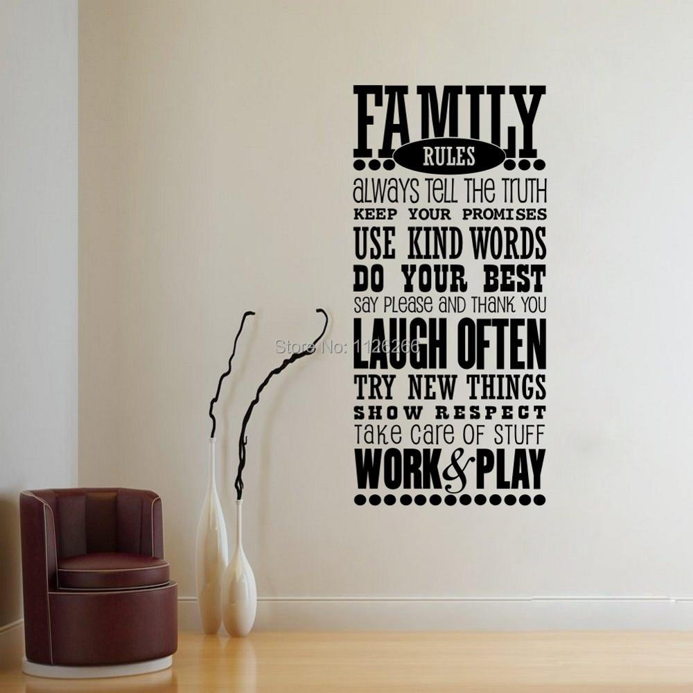 compare prices on family wall letters online shopping buy low family rules quotes wall sticker for living room art vinyl mural wall decal lettering carved for
