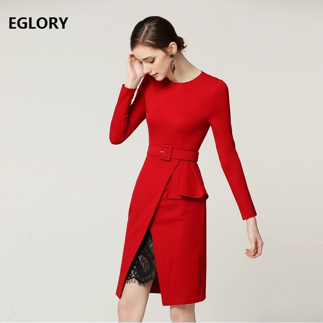 2019 Spring Fashion Red Dress High Quality Party Vestidos Women O-Neck Black Lace Patchwork Long Sleeve Knee Length Pencil Dress