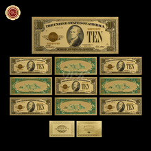 1928 Year Latest Design Colored Gold Foil Banknote USD 10 Replica Currency Banknotes Bills 10pcs/set for Collectors