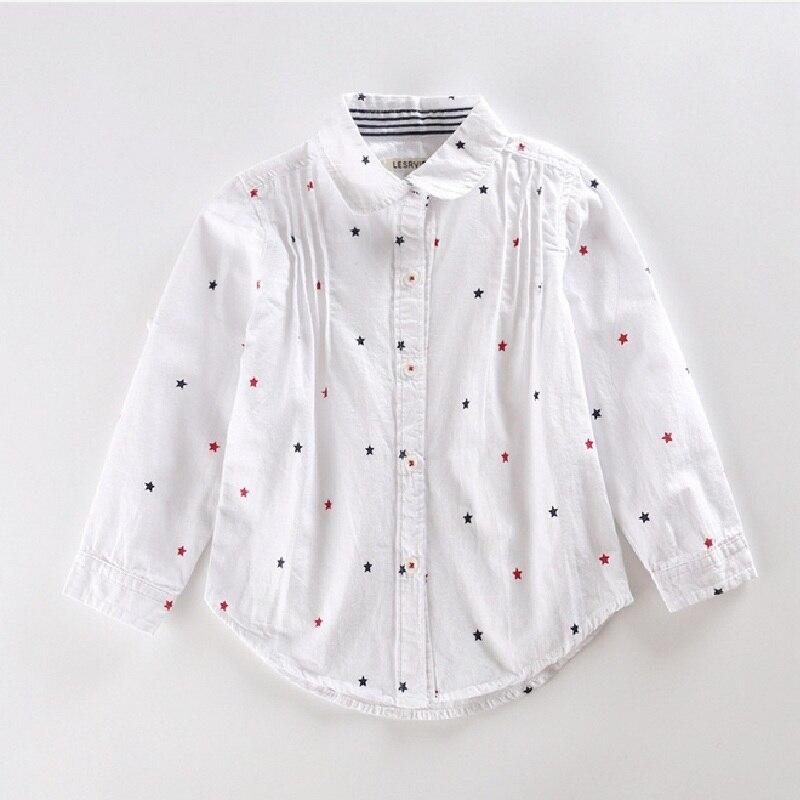 Kids Cotton Shirts Spring Children's Casual Shirt Linen Printing Girls Fashion start Blouse 2016 Long Sleeve Child Blouses FR