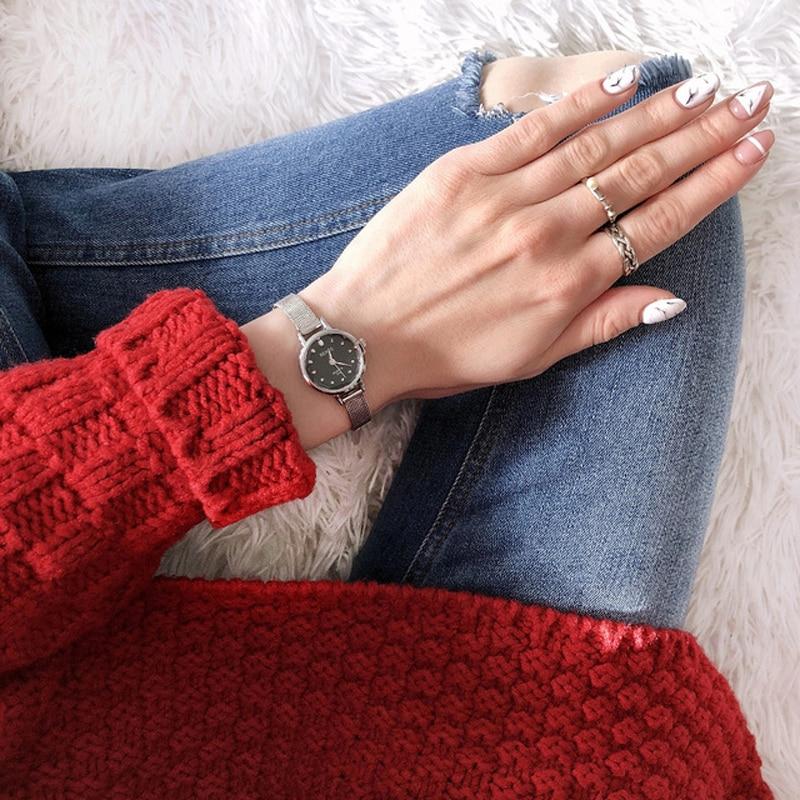 RENOS Klocka Kvinnor Med Box Enkel Svart Vit Rosa Armbandsur Mode - Damklockor - Foto 3