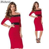 赤いドレスのための女性オフショル