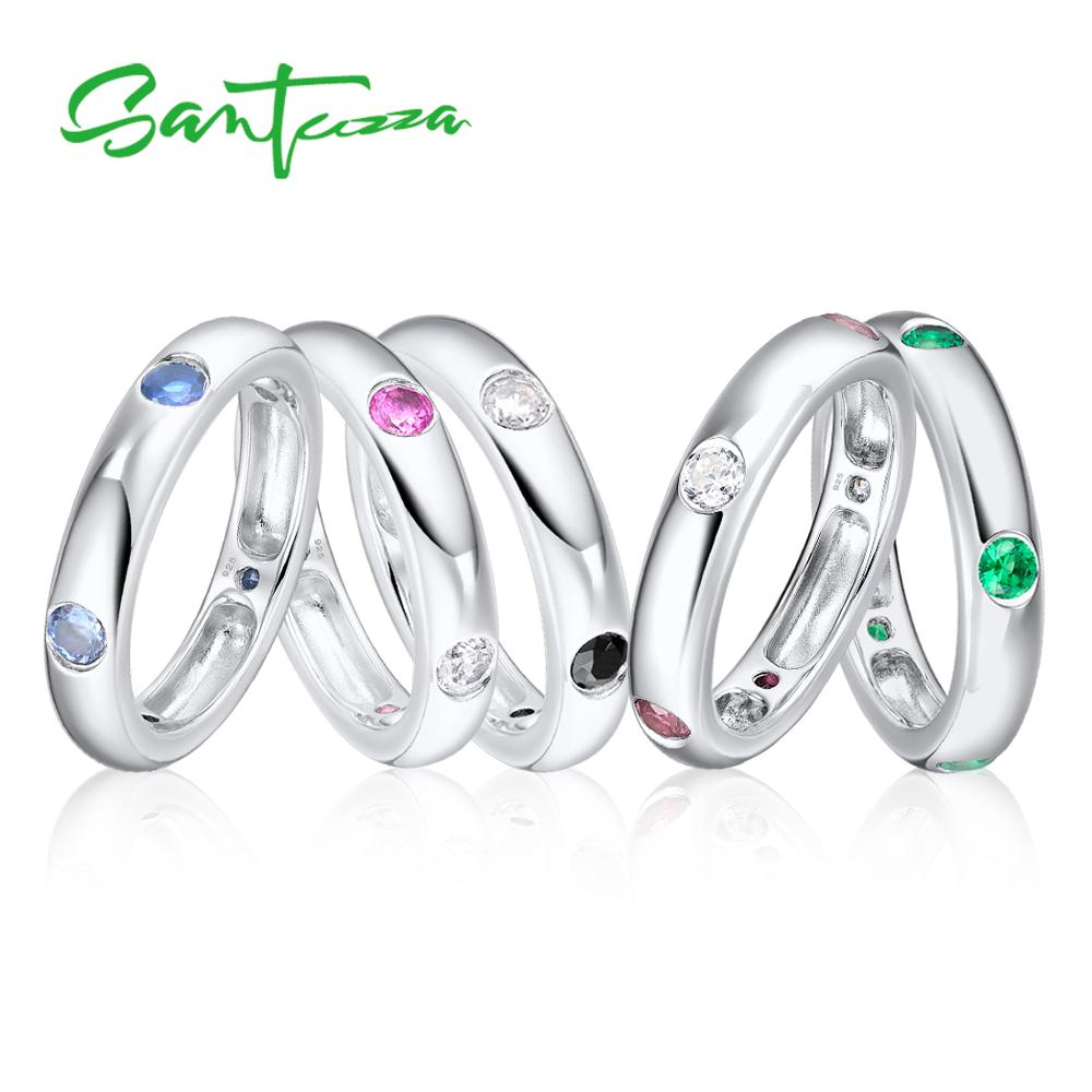 Santuzza Silver Ring for Women Engagement Wedding Multi-Color Gem Stones Eternity Rings Pure 925 Sterling Silver Fashion Jewelry punk style pure color hollow out ring for women