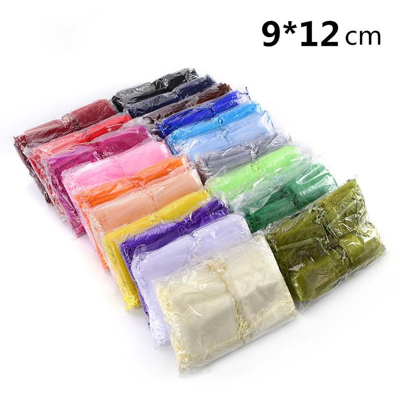 Big Wholesale 800pcs/lot Organza Bags 9x12cm,Wedding Jewelry Packaging Pouches,Nice Gift Bags,Mix Colors цена