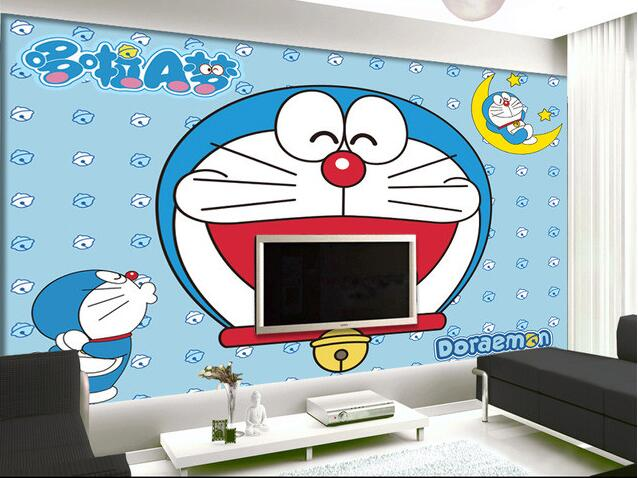 3d wallpaper kustom mural non woven wall sticker hd doraemon animasi