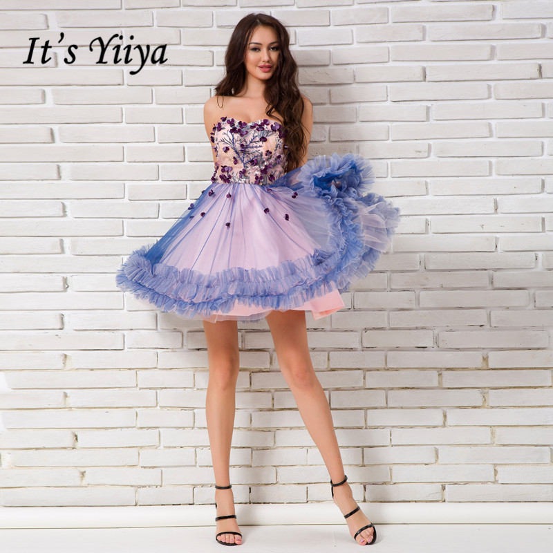 It's YiiYa Sex Purple Floral Strapless Print Draped Flowers Knee Length Cocktail Dress Tea Length Formal Dress Party Gowns LX031