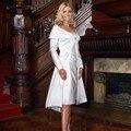 Moda curto mãe do vestido da noiva com jaqueta de 2016 mangas compridas de cetim plissado na altura do joelho vestido de mulheres para formais partido