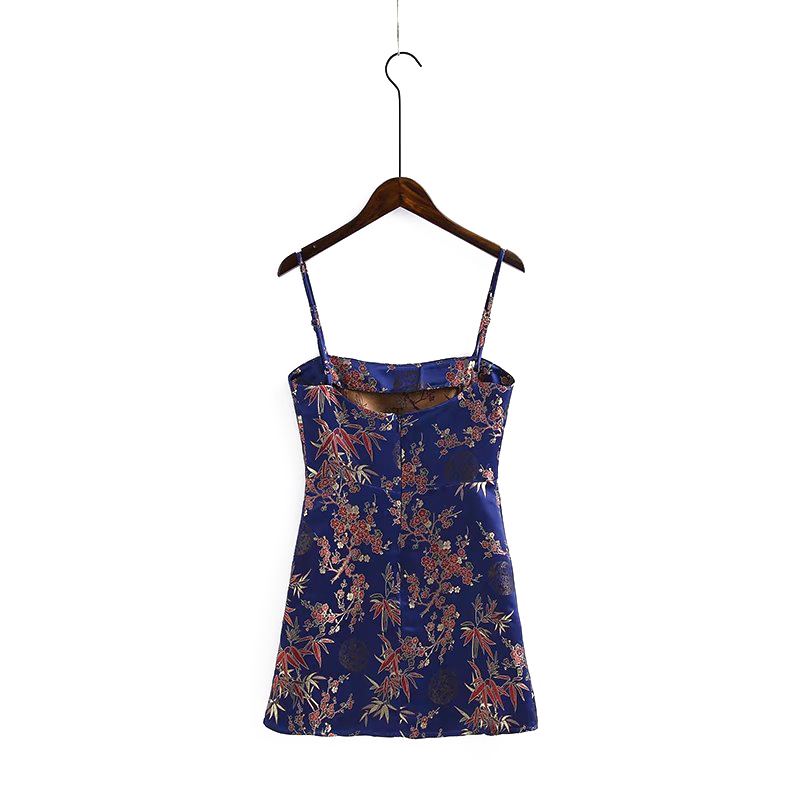 GOPLUS Fashion Chinese Style Spaghetti Strap Floral Print Bodycon Dress Sexy Sleeveless Backless Party Mini Dresses C4985 in Dresses from Women 39 s Clothing