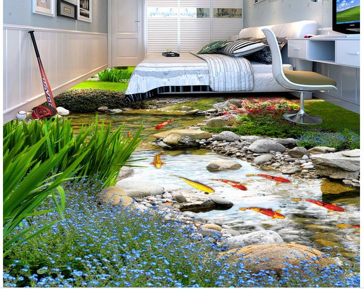 3d wallpaper waterproof 3d flooring rear garden river for 3d wallpaper waterproof