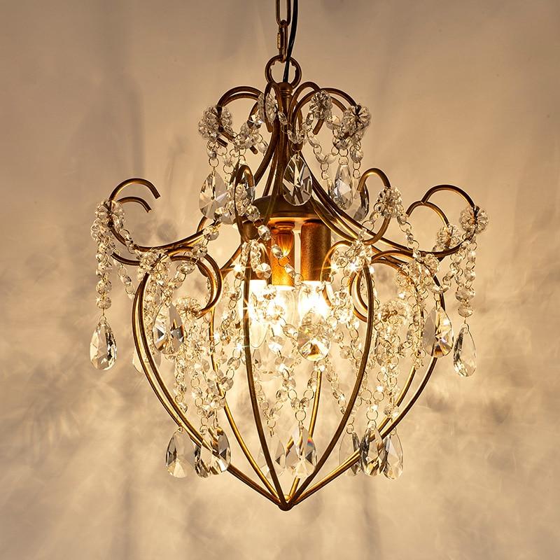 US $148.75 15% di SCONTO|Ha condotto la luce lampadario per soggiorno  classico di cristallo lampadario sala da pranzo oro di cristallo luci retro  ...