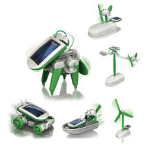 2019 New 6 in 1 Solar Power Robot Kit DIY Assemble Gadget Airplane Boat Car Train Model Science Gift Toys for Boy Kids(China)