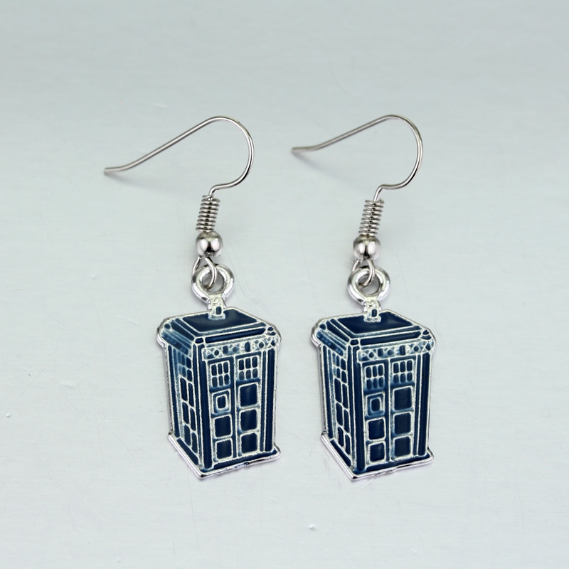 M2 Doctor Who Blue TARDIS Earrings Mysterious Dr. House Tape High Quality Mental Earrings