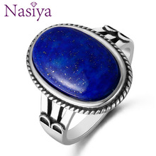 Nasiya Classic High Quality Big 11x17MM Natural Lapis Ring For Women 925 Silver Fine Jewelry Party Anniversary Wedding Gift