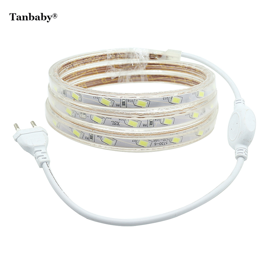 цена на Tanbaby Waterproof LED Strip light 220V 52 leds/M SMD 5730 with Power Plug Super Bright 5630 Flexible Stripe Rope Home Decor