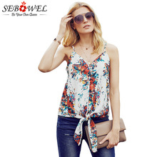 SEBOWEL Sleeveless V Neck Tank Top Woman Summer Spaghetti Straps Vest Camis Female Floral Striped Print Tie Knot Plus Size S-XXL knot front v neck striped top