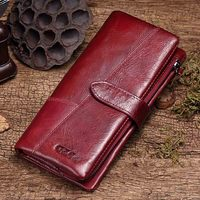 Genuine Leather Women Wallet Lady Long Female Coin Purse Clamp For Money Women'S Clutch Handy Portomonee Rfid
