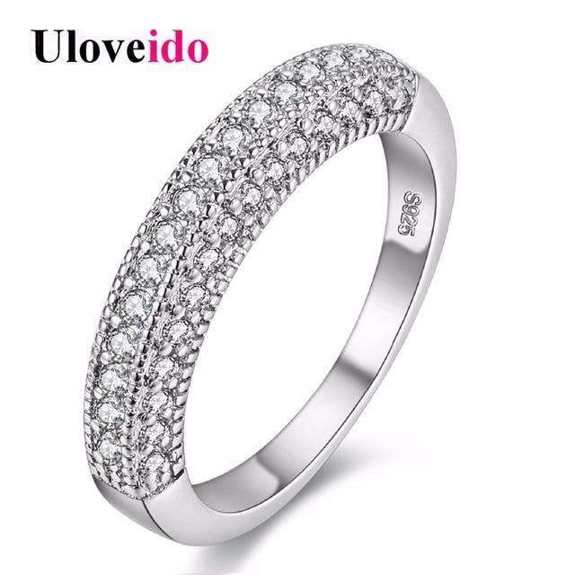 Uloveido Rhinestone Wedding Rings for Women Cubic Zirconia Men Jewellery Ring Female Anillos Anel Feminino Bijoux 10% Off Y100