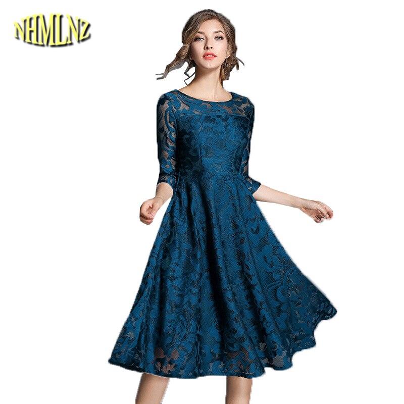 European Style Plus Size S 5XL Women Dress 2019 New Slim
